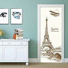 QQFENG Einfache Art Eiffelturm Tür Aufkleber