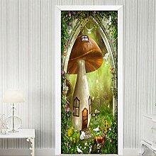 QQFENG Fantasy Märchen Wald Elch 3D Tür