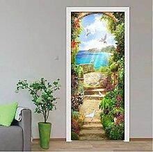 QQFENG Garten Landschaft Tür Aufkleber 3D PVC