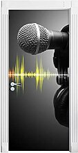 QQFENG Kunst Bild Mikrofon Headset 3D Tür