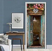 QQFENG Mediterrane Fenster Rose Tür Aufkleber