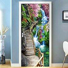 QQFENG Moderne Brücke Wasserfall Landschaft 3D