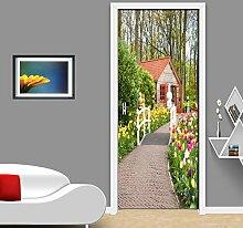 QQFENG Schöner Gartenweg Foto Tapete Tür