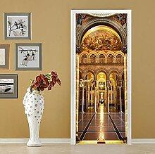 QQFENG Tür Wandbild Palast Türaufkleber DIY
