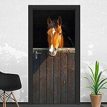 QQFENG Tür Wandbild Pferd Tür Aufkleber DIY
