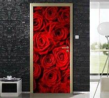 QQFENG Tür Wandbild Rote Rose Türaufkleber DIY