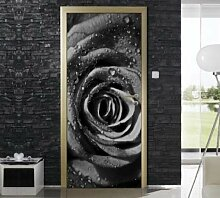 QQFENG Tür Wandbild Schwarz Rose Türaufkleber