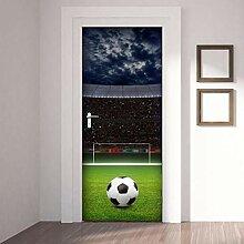 QQFENG Türtapete Wandbilder 3D Fußballfeld Blume