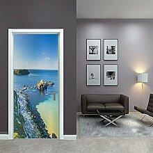 QQFENG Türtapete Wandbilder 3D Meerblick Riff