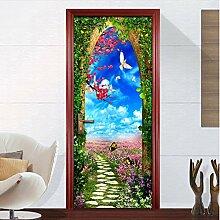 QQFENG Türtapete Wandbilder 3D Wohnzimmer Und