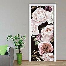 QQFENG Türtapete Wandbilder Abnehmbare Blumentür