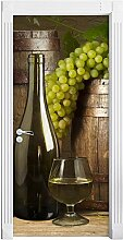 QQFENG Türtapete Wandbilder Abnehmbares Wein