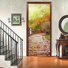 QQFENG Türtapete Wandbilder Bergweg Tür