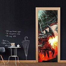QQFENG Türtapete Wandbilder Cartoon Feuerdrache