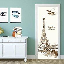QQFENG Türtapete Wandbilder Eiffelturm Landschaft