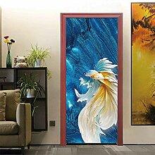 QQFENG Türtapete Wandbilder Goldfisch Wohnzimmer