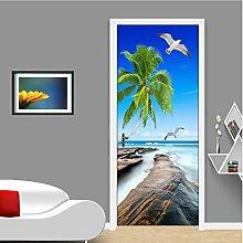 QQFENG Türtapete Wandbilder Kokosnussbaum Riff