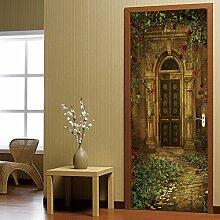QQFENG Türtapete Wandbilder Retro Villa Kreatives