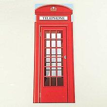 QQFENG Vintage Europa Telefonzelle 3D Tür