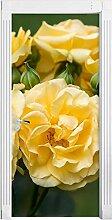 QQFENG Wandbild Gelb Blumendruck Kunst 3D Tür