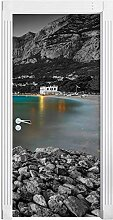 QQFENG Wandbild Papier Drucken See Schiff Berg