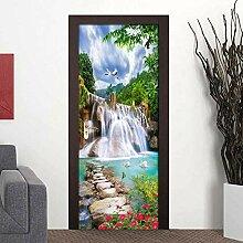QQFENG Wasserfall Landschaft Wandtür Aufkleber