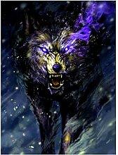 QQYYYT Diamantzeichnung Wolf DIY Vollrunde Cartoon