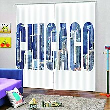 QRTQ Schlafzimmer Vorhang Polyester Chicago City