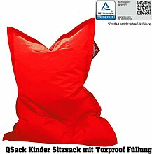 QSack Outdoorer Kindersitzsack, mit Innenhülle und Toxproof Mikroperlen, schadstoffgeprüft, 100x140 cm (rot)