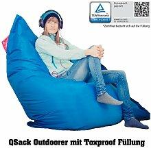 QSack Sitzsack Outdoorer mit Toxproof Mikroperlen EPS schadstoffgeprüft und Sitzsack Innenhülle, 140 x 180 cm (blau)