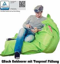 QSack Sitzsack Outdoorer mit Toxproof Mikroperlen EPS schadstoffgeprüft und Sitzsack Innenhülle, 140 x 180 cm (apfelgrün)