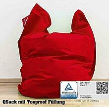 QSack Sitzsack Outdoorer mit Toxproof Mikroperlen EPS schadstoffgeprüft und Sitzsack Innenhülle, 140 x 180 cm (rot)