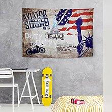 QSUM Wandteppich mit Vintage-amerikanischen