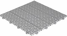 QTile® Kunststofffliese - Universeller Bodenbelag aus Polypropylen (PP) - hellgrau • 1m² (11 Fliesen Pckg.) • Für Terrasse, Balkon, Pool, Garten, Hobbyraum, Waschraum etc.