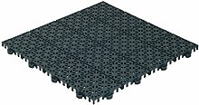 QTile® Kunststofffliese - Universeller Bodenbelag aus Polypropylen (PP) - grün • 1m² (11 Fliesen Pckg.) • Für Terrasse, Balkon, Pool, Garten, Hobbyraum, Waschraum etc.