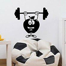 Qtth Vinyl Aufkleber Cartoon Apple Gym Wandtattoos