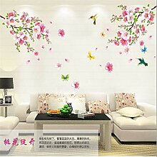 QTXINGMU Elegante Blume Vögel Tree Home Aufkleber