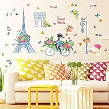 QTXINGMU Fahrrad Mädchen Butterfly Wall Sticker