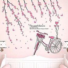 QTXINGMU Pink Peach Flower Wand Aufkleber