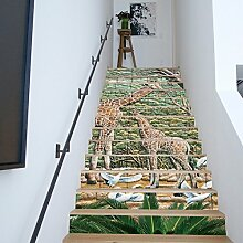 QTZS 3D Giraffe Tier Treppe Aufkleber Simulation