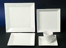 Quadrat Weiss Kaffee Tafel Kombi Service 60 teilig