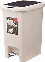 Quadratfuß-Haus Küche Bad Mülleimer Deckel Kunststoff Tuba,Beige-20L