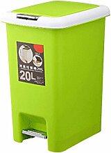 Quadratfuß-Haus Küche Bad Mülleimer Deckel Kunststoff Tuba,Green-15L