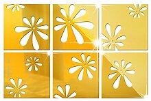 Quadratisch Blumen Acryl Perspektive Spiegel Wandaufkleber Aufkleber TV Hintergrund,Gold-20x20cmx6pcs