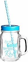 Quadratische gute Zeiten Glas Becher, 450 ml Glas,