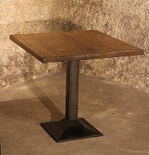 Quadratischer Bistrotisch aus Gusseisen & Stahl,