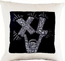 Quadratischer Kissenbezug mit Modern Art Deco Design–Handarbeit bestickt Pop Art Design Kissen Bezug–Sofa Kissenbezug in weiß Leinen, Weiß, Schwarz, 35 x 35 cm