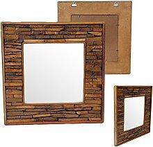 Quadratischer Wandspiegel Spiegel Standspiegel Holzspiegel Rahmen Holzrahmen Thailand Massiv ca. 50 x 50 cm Holz Hellbraun