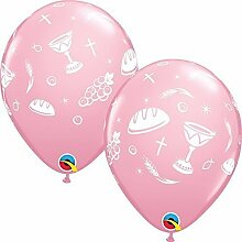 Qualatex Kommunion Elemente 11 Zoll Latexballons (pink, 25 stk. )
