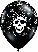 Qualatex Piraten Schädel & Knochen 11 Zoll Latexballons ( 25 stk. )